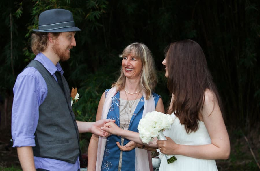 Celebrant Kari meeting with the bride and groom at