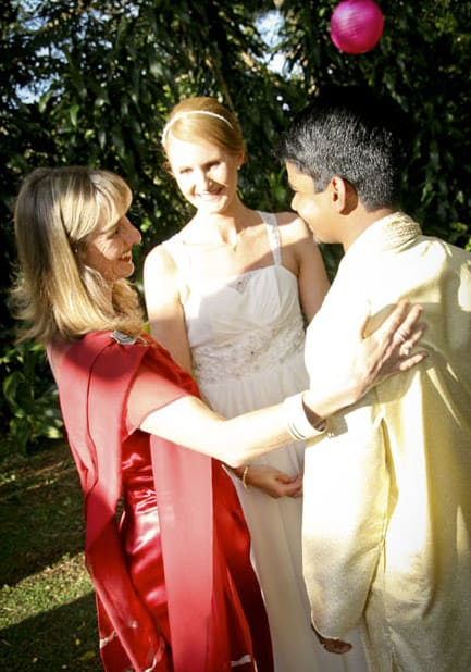 Congratulating the couple after their elopment ceremony with Kari - the Queensland elopement celebrant