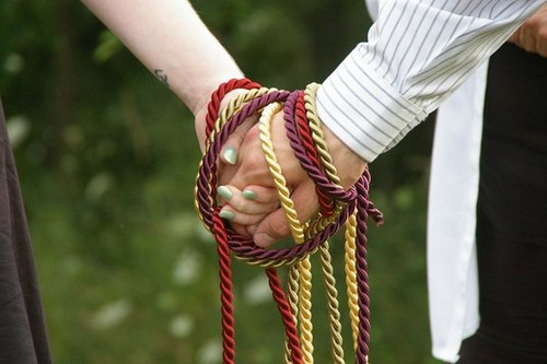 handfasting with coloured cords